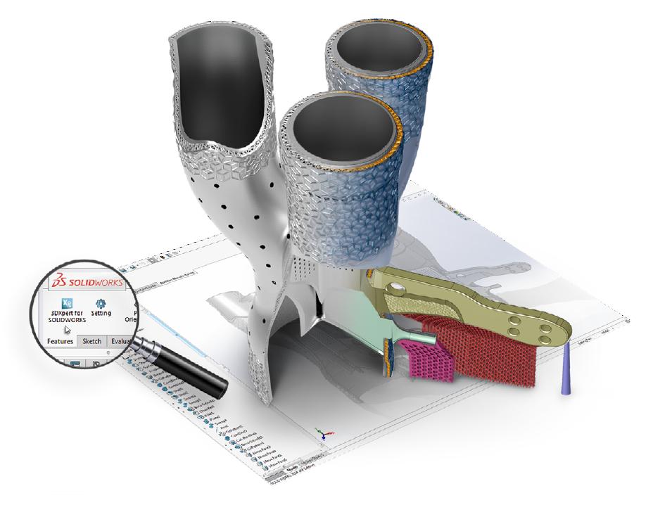 Image d'illustration 3DXpert for SOLIDWORKS est une solution de préparation et d'optimisation des pièces pour l'impression 3D, intégré directement dans SOLIDWORKS.